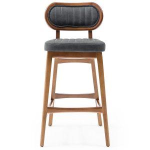 NEO-300358T Ahşap Döşemeli Sırtlı Bar Sandalyesi