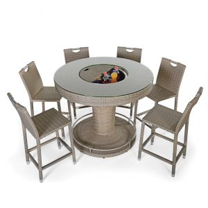 Rattan Yuvarlak Bar Masasi ve Sandalyeleri NEO-880121T